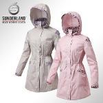선덜랜드 여성 최고급 심실링처리 완벽방수 부분호피무늬 레인자켓/사파리비옷 - 16312RC03