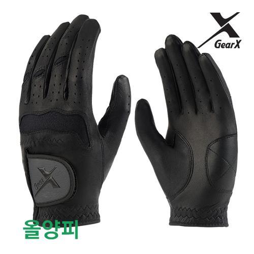 [기어엑스] 골프장갑-남자 검정 천연양피 1장