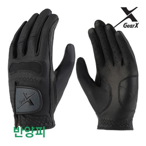 [기어엑스]골프장갑-남자 블랙 반양피 1장