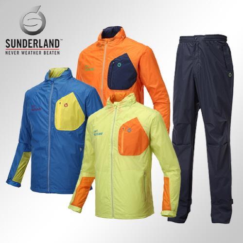 [Sunderland In The Rain] 선덜랜드 남성 최고급 완벽방수 패치포인트 레인자켓/비옷 상하의세트(후드삽입형) - 16411WR03RP02