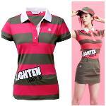 르꼬끄골프 여성 로고 보더 티셔츠(G432KL1503)