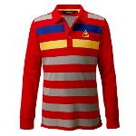 르꼬끄골프 남성 컬러 포인트 피케 보더 티셔츠(G432KG1005)
