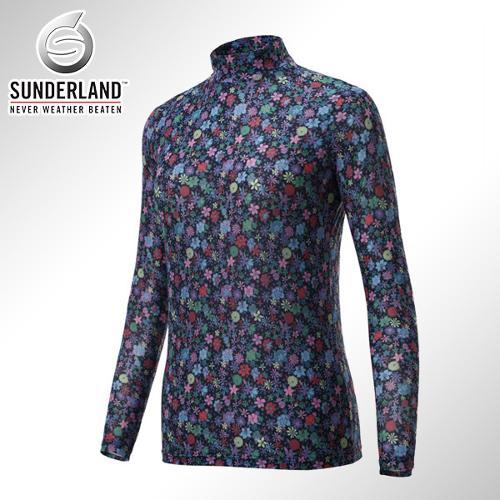 [Sunderland Of Scotland] 선덜랜드 여성 냉감 스판소재 꽃무늬 패턴 목폴라 기능성티셔츠 - 16512TS23