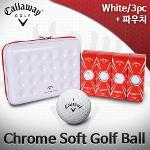 캘러웨이 크롬 소프트 3피스 골프볼 골프공 파우치세트