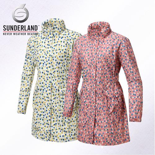 선덜랜드 여성 최고급 완벽방수 심실링처리 도트무늬 레인코트/사파리비옷(후드삽입형) - 16612RC33