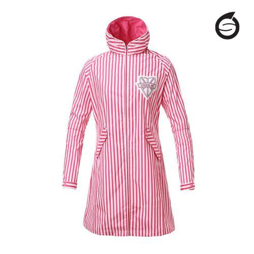 선덜랜드 여성 최고급 완벽방수 심실링처리 스트라이프 레인코트/사파리비옷(후드삽입형) - 16612RC32