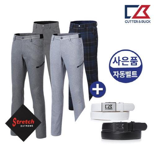 커터앤벅 남성 방한 스판 체크 기모 골프바지/팬츠 (사은품 벨트 증정) - 14-174-104-82