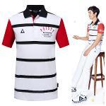 [르꼬끄골프] [5월 신상품]남성 로고 포인트 스트라이프 티셔츠 (G6221MTS48)
