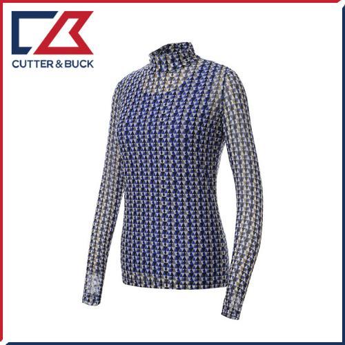 커터앤벅 여성 메쉬원단 스판소재 패턴무늬 셔링 목폴라 긴팔티셔츠 (민소매 티셔츠 일체형)- 1461-201-22