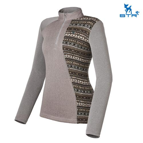 [BTR] 에스닉 패턴 절개 반집업 티셔츠 더치(여) BLT4509W