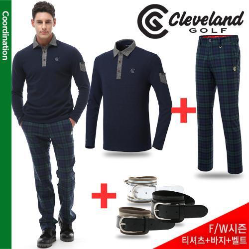 [골프데이] 그린3 코디 [클리브랜드골프] 모직 카라포인트 남성 긴팔티셔츠 + 그린 선염체크 남성바지 + [사은품] 벨트