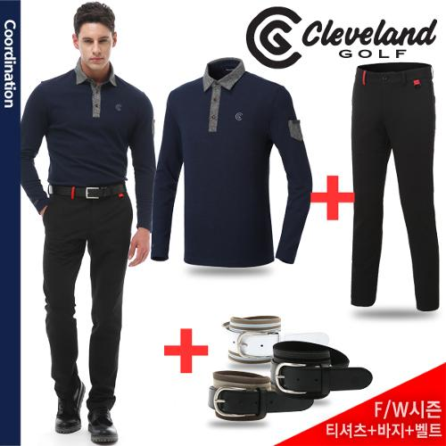 [골프데이] 네이비2 코디 [클리브랜드골프] 모직 카라포인트 남성 긴팔티셔츠 + 폴리스판 기모 남성바지 + [사은품] 벨트