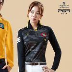 PGR GOLF 여성 밀리터리 무늬 이중 배색포인트 카라 긴팔티셔츠 - GT-4067