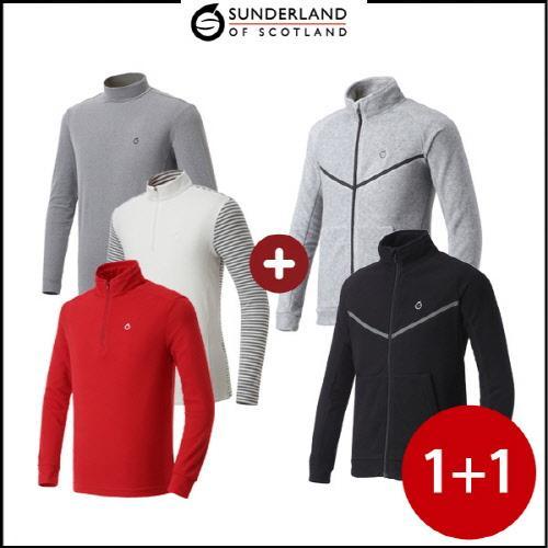 선덜랜드 남성 긴팔티셔츠 3종 택1 + 폴라폴리스 자켓 - 2장 1세트
