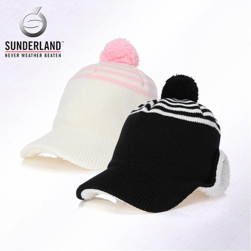 [Sunderland Of Scotland] 선덜랜드 여성 겨울 방한 울 니트소재 스트라이프 방울 귀마개 모자- 16642CP35