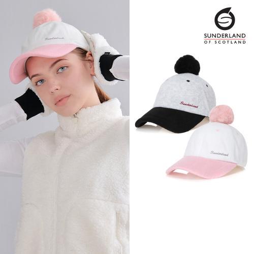[Sunderland Of Scotland] 선덜랜드 여성 겨울 방한 자수로고 토끼털 방울 속귀마개 모자 - 16642CP31