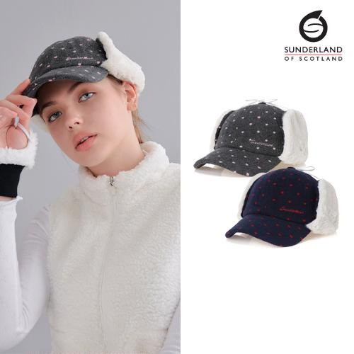 [Sunderland Of Scotland] 선덜랜드 여성 겨울 방한 울 니트소재 도트포인트 리본 귀마개 모자- 16642CP33