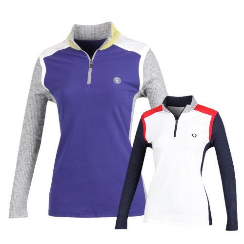 여성용 배색 반집업 스탠드카라 골프티셔츠 FY6A603