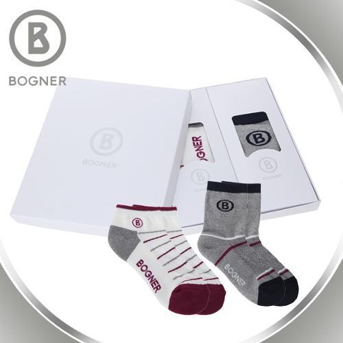 보그너 BOGNER 남성/여성 최고급 면소재 배색포인트 골프양말 2족 1세트 - BN-SOCKS