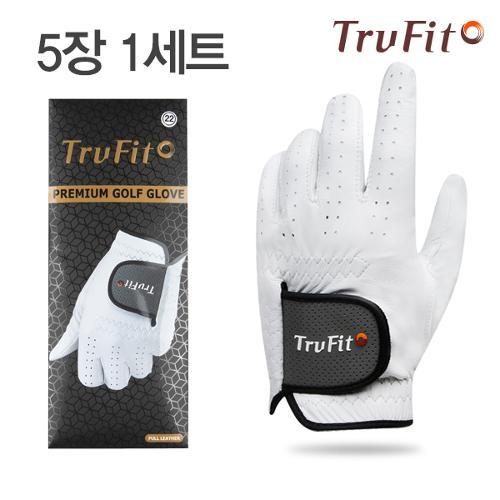 [마켓][TRUFIT](5장 1세트) 트루핏 프리미엄양피 남성용 골프장갑 FULL LEATHER