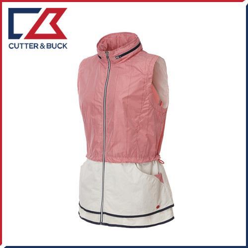 커터앤벅 여성 풀집업 체크배색 후드 조끼 바람막이/자켓 - PB-11-161-207-01