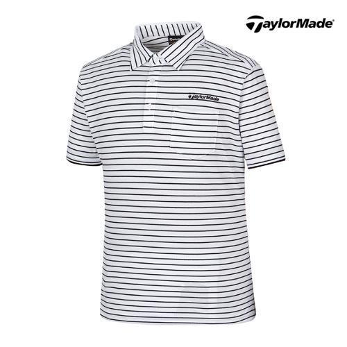 [테일러메이드] 남성 스트라이프 카라넥 반팔 티셔츠 B16680_GA