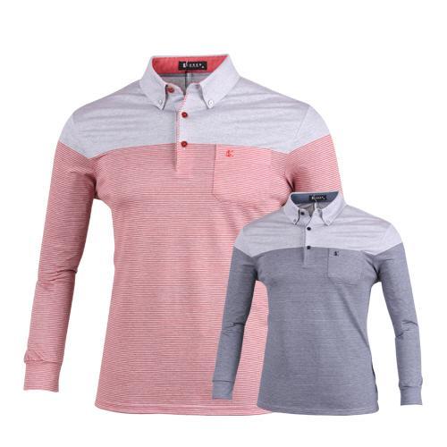 루센 모노스트라이프 롱슬리브 골프 티셔츠 LU7S406