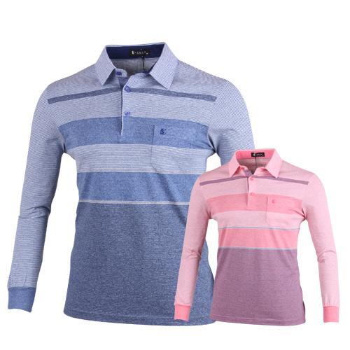 루센 파스텔 스트라이프 롱슬리브 골프 티셔츠 LU7S407