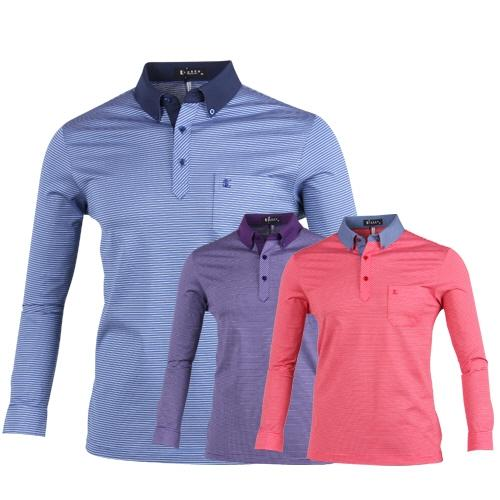루센 잔스트라이프 롱슬리브 골프 티셔츠 LU7S404