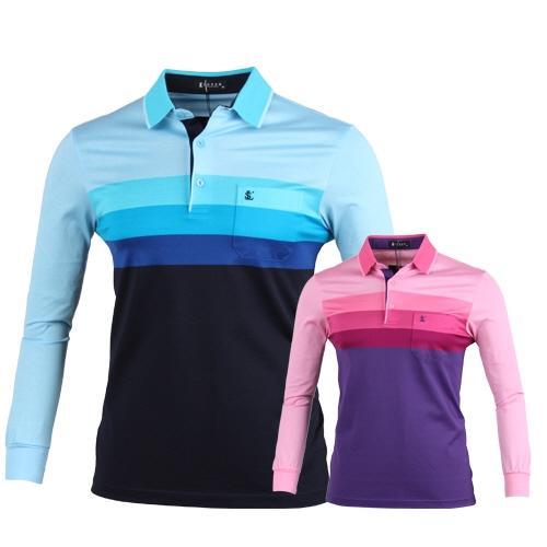 루센 스트라이프 배색 롱슬리브 골프 티셔츠 LU7S403