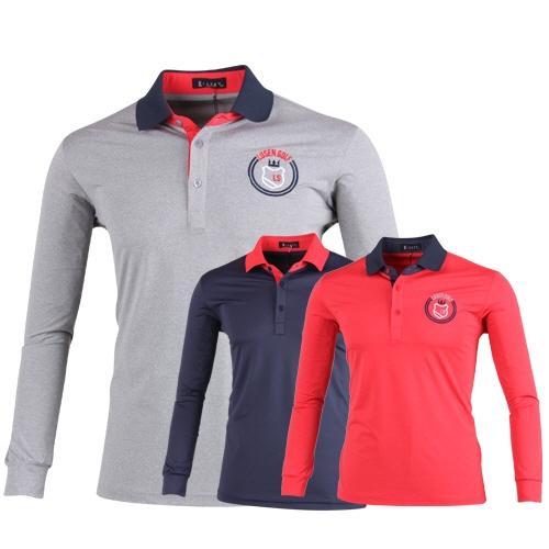루센 카라 포인트 배색 롱슬리브 골프 티셔츠 LU7S402