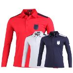 루센 어깨 포인트 배색 롱슬리브 골프 티셔츠 LU7S401