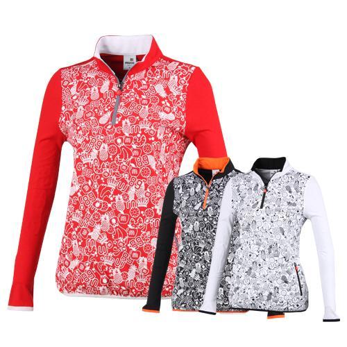 미우골프 여성 멀티 캐릭터 프린팅 배색 티셔츠 MW7S601W