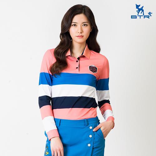 [BTR] 스트라이프 배색 카라 티셔츠 바질(여) BOT4058W