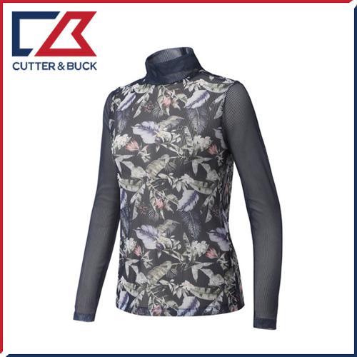 커터앤벅 여성 스판소재 플라워 패턴 목폴라 기능성티셔츠 - PB-11-162-201-03
