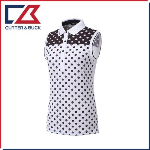 커터앤벅 여성 스판소재 배색 패턴포인트 카라 민소매티셔츠 - PB-11-162-201-49