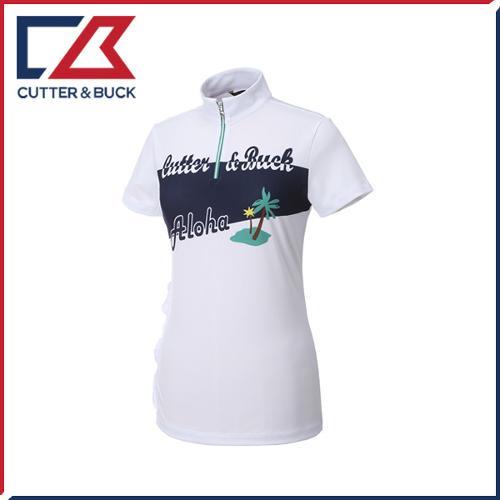 커터앤벅 여성 하프집업 스판소재 프린팅포인트 반팔티셔츠 - PB-11-172-201-33