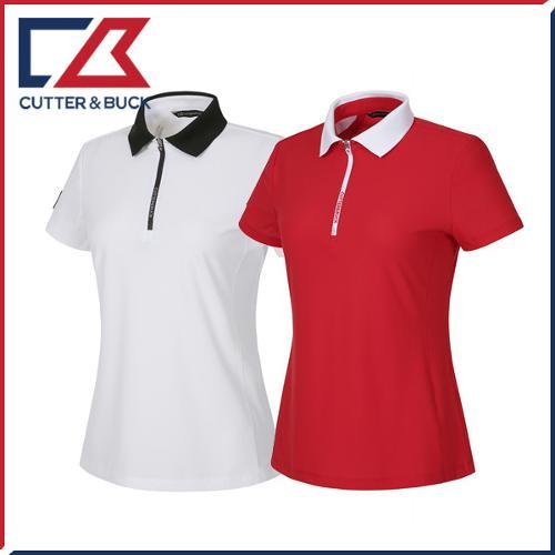 커터앤벅 여성 하프집업 스판소재 반소매 카라 반팔티셔츠 - PB-11-172-201-29