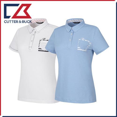 커터앤벅 여성 스판소재 배색 포켓포인트 카라 반팔티셔츠 - PB-11-172-201-12