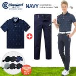 [클리브랜드] 골퍼스윙 남성 반팔티셔츠 + 삼색테잎 스판 골프바지 + [사은품]네이비75