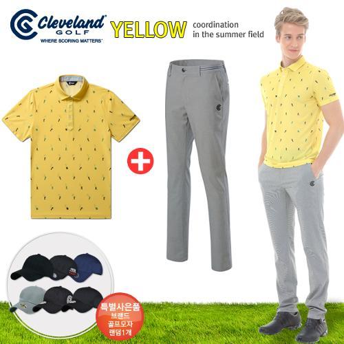 [클리브랜드] 골퍼스윙 남성 반팔티셔츠+잔체크 스판 골프바지+[사은품]★옐로우71코디