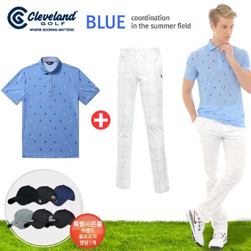 [클리브랜드] 골퍼스윙 남성 반팔티셔츠+사각체크 면스판 골프바지+[사은품]★블루73코디
