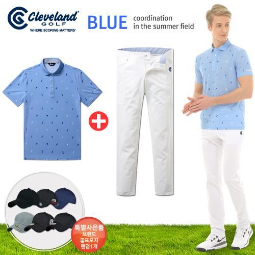 [클리브랜드] 골퍼스윙 남성 반팔티셔츠+아웃포켓 나일론스판 골프바지+[사은품]★블루72코디