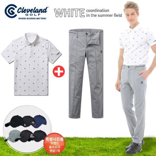 [클리브랜드] FUN 아이콘 남성 반팔티셔츠+센터절개 면스판 골프바지+[사은품]★화이트73코디