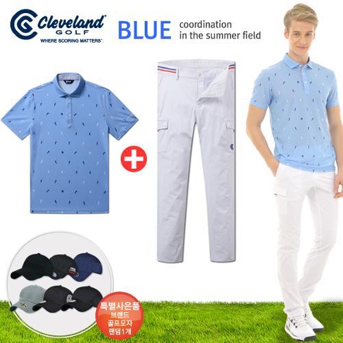 [클리브랜드] 골퍼스윙 남성 반팔티셔츠+뱀부 아웃포켓 골프바지+[사은품]★블루71코디
