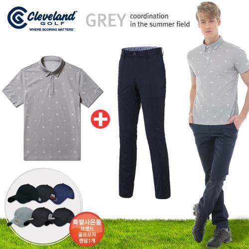 [클리브랜드] FUN 아이콘 남성 반팔티셔츠+센터절개 포켓 골프바지+[사은품]★그레이73코디