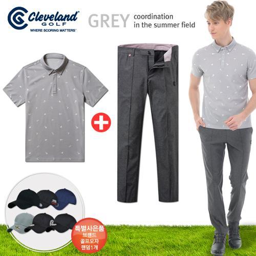 [클리브랜드] FUN 아이콘 남성 반팔티셔츠+센터절개 스판 골프바지+[사은품]★그레이72코디