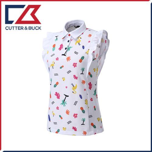 커터앤벅 여성 스판소재 패턴포인트 소매 프릴 카라 민소매티셔츠 - PB-11-172-231-04