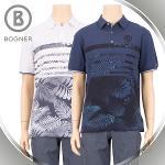 보그너 BOGNER 남성 면소재 플라워 프린트 스트라이프 카라 반팔티셔츠 - BN-02-172-101-52