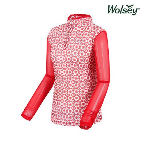 여름 여성 반집업 메쉬 긴팔 티셔츠 W62LTM85DRD
